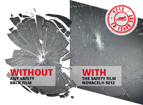 A glass without any safety back film and with Forglass 9212